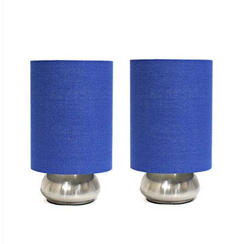 Simple Designs 2 Pack Mini Touch Lamp with Brushed Steel Base and Blue Shade