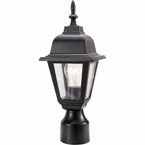 Maple Street Outdoor Post Light, 6-Inch by 16-Inch, Black Die-Cast Aluminum