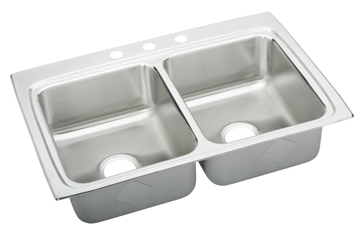 33X22X6-1/2 Three Hole Double Bowl ADA Sink Stainless Steel