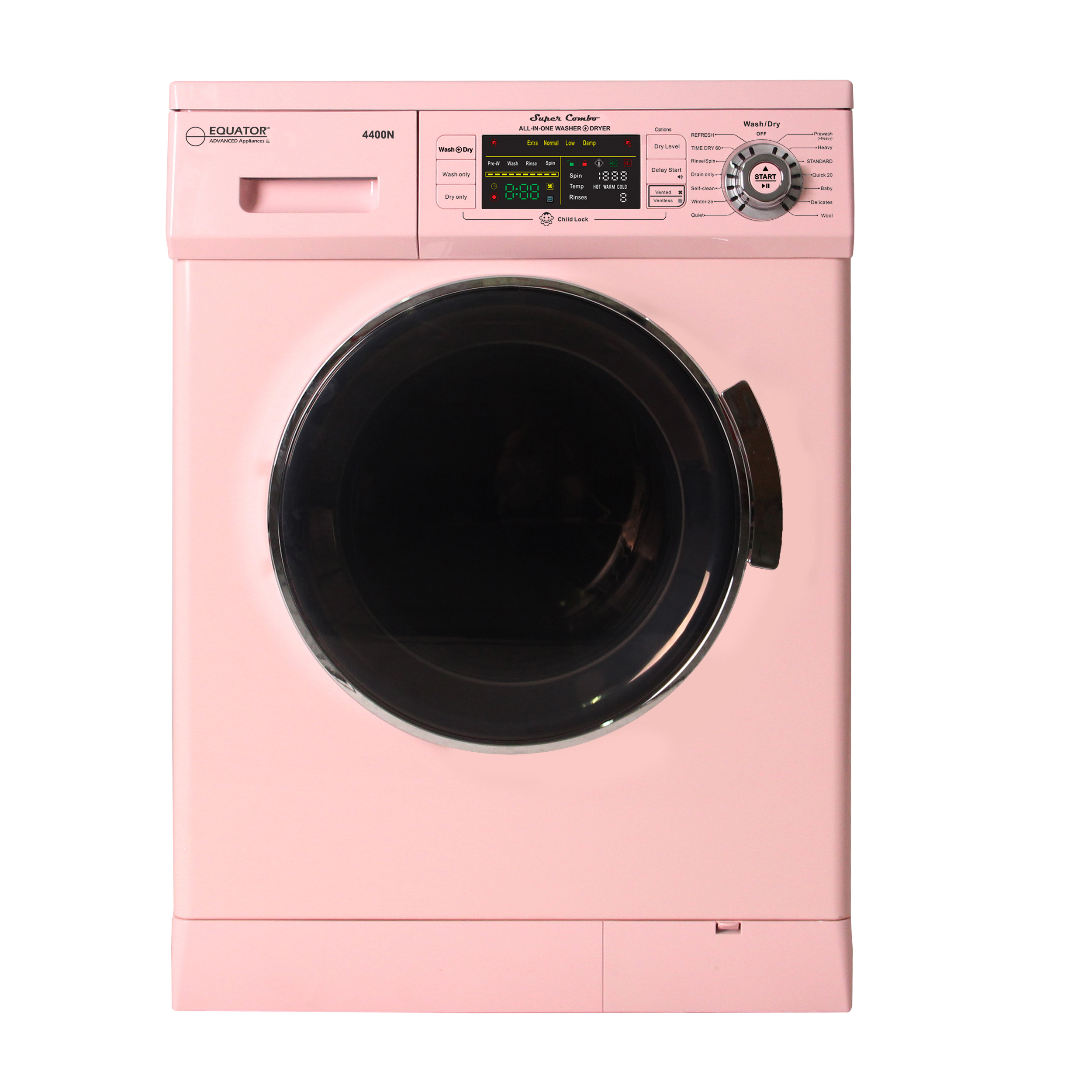 All-in-one 1200 RPM New 2019 Version Compact Convertible Combo Washer Dryer with Fully Digital Control Panel Pink