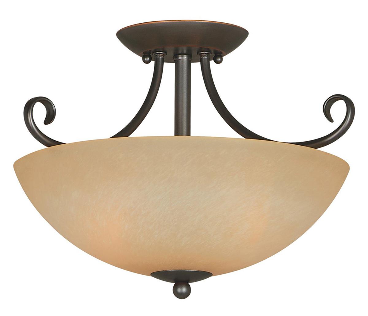 Berkshire 2 Lights Semi-Flush Ceiling Light Fixture, Classic Bronze, Amber Glass Shade