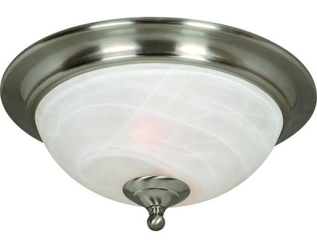Saturn Flush Mount Ceiling Lighting Fixture, Satin Nickel, Alabaster Glass Shade