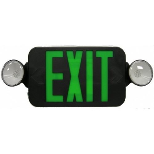 Micro Combo LED Exit Emergency Light, Green LED, Black Housing