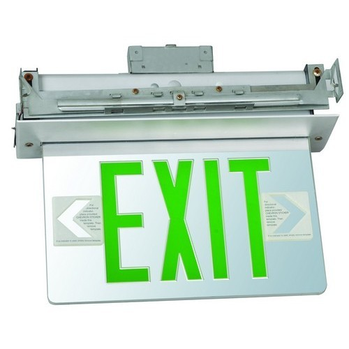 Recessed Mount Edge Lit Exit Sign Single Sided Legend Green LED Aluminum Housing
