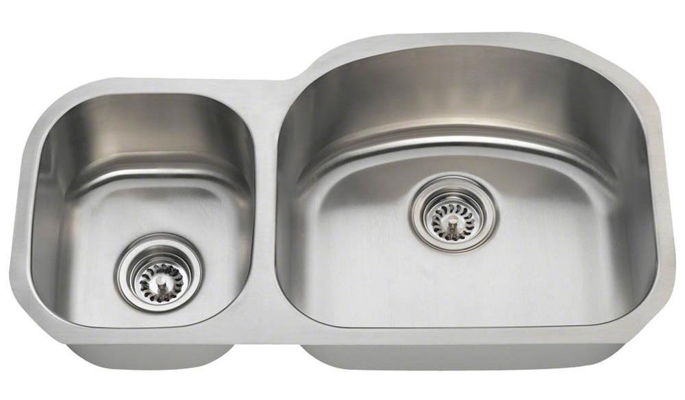 Polaris PR105 Offset Double Bowl Stainless Steel Sink