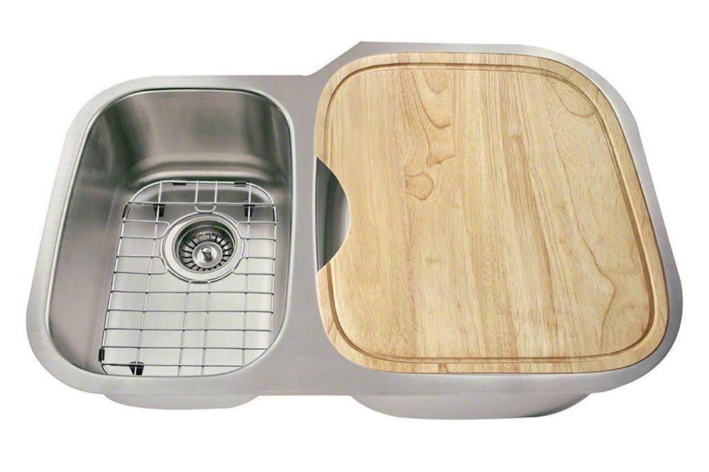 Polaris Sinks PR605 18 Gauge Kitchen Ensemble (Bundle - 6 Items: Sink, 2 Standard Strainers, 2 Sink Grids, and Cutting Board)