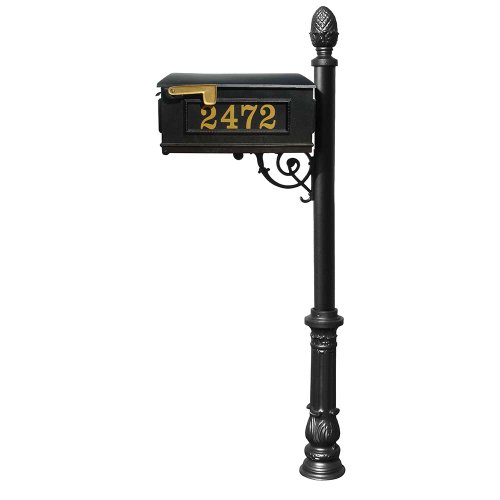 Lewiston Mailbox (Black) with Post (Ornate Base & Pineapple Finial), Vinyl Numbers, Support Brace