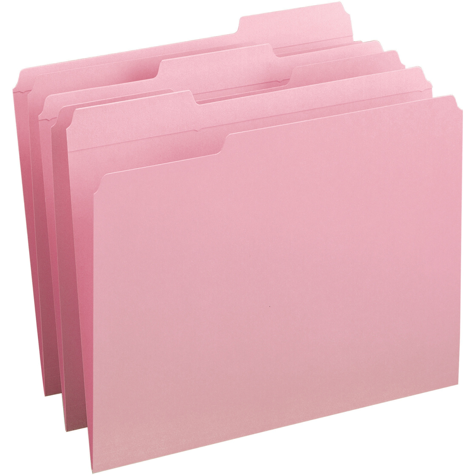 File Folders, 1/3 Cut, Reinforced Top Tab, Letter, Pink, 100/Box