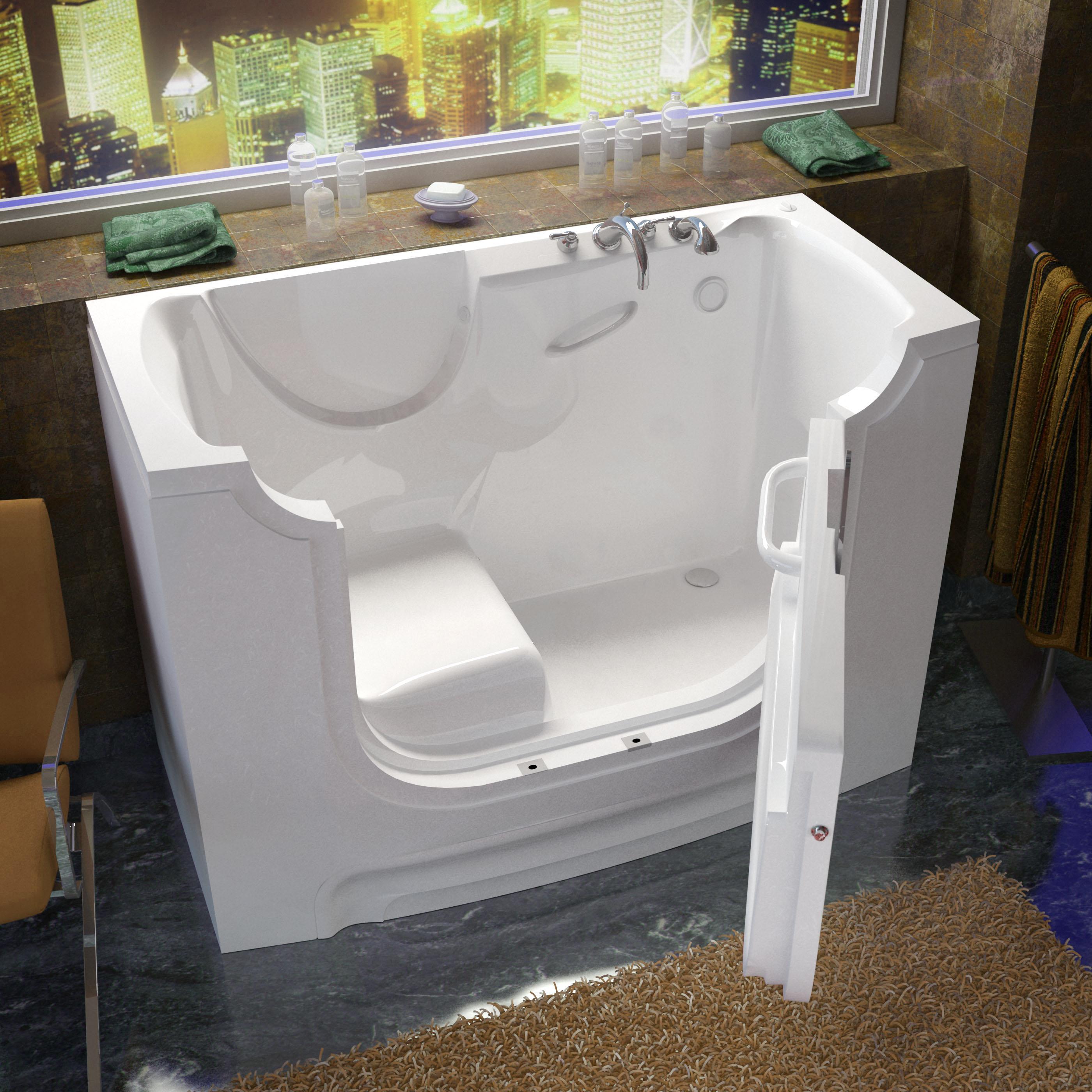 30x60 Right Drain White Soaking Wheelchair Accessible Walk-In Bathtub