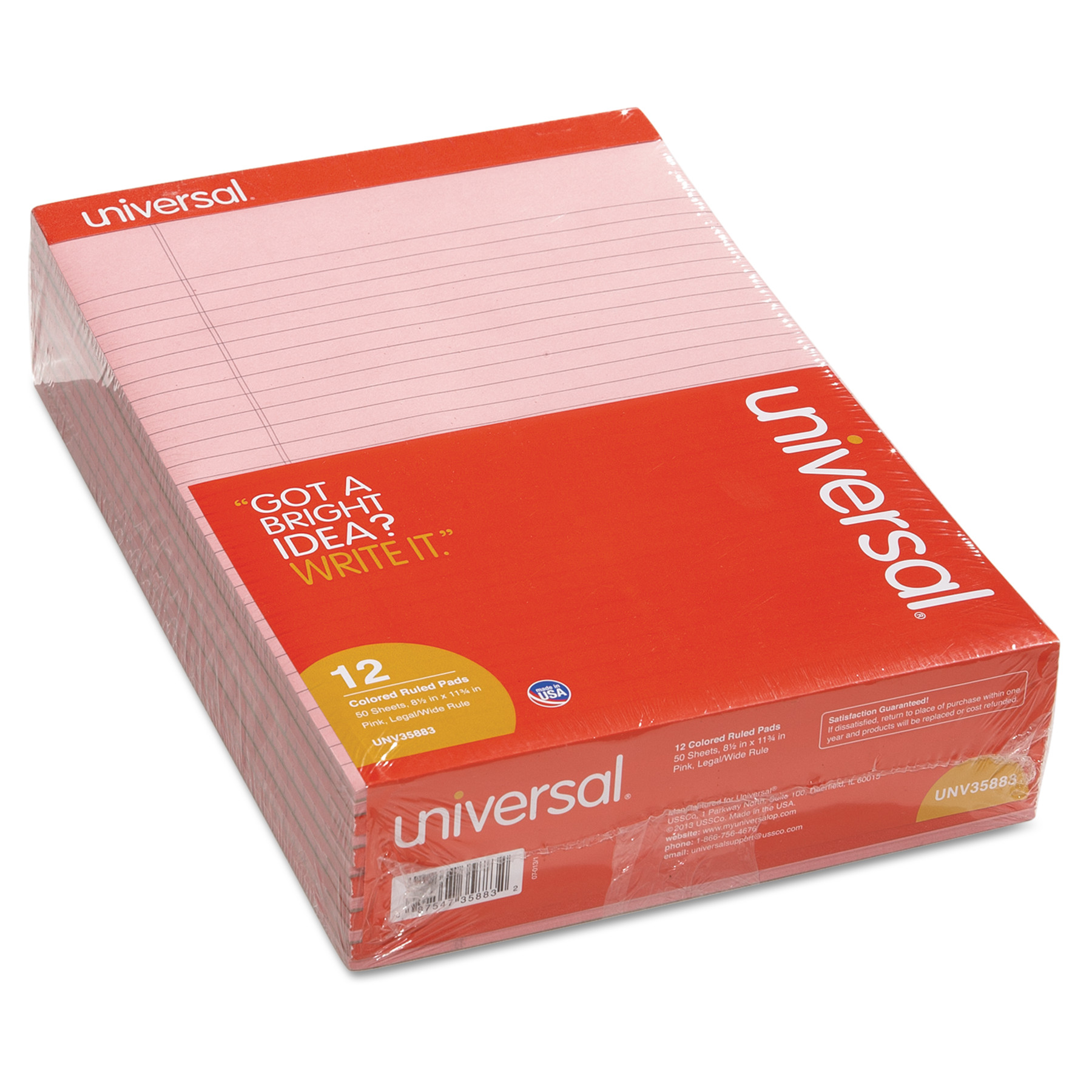 Colored Perforated Note Pads, 8 1/2 x 11, Pink, 50 Sheet, Dozen