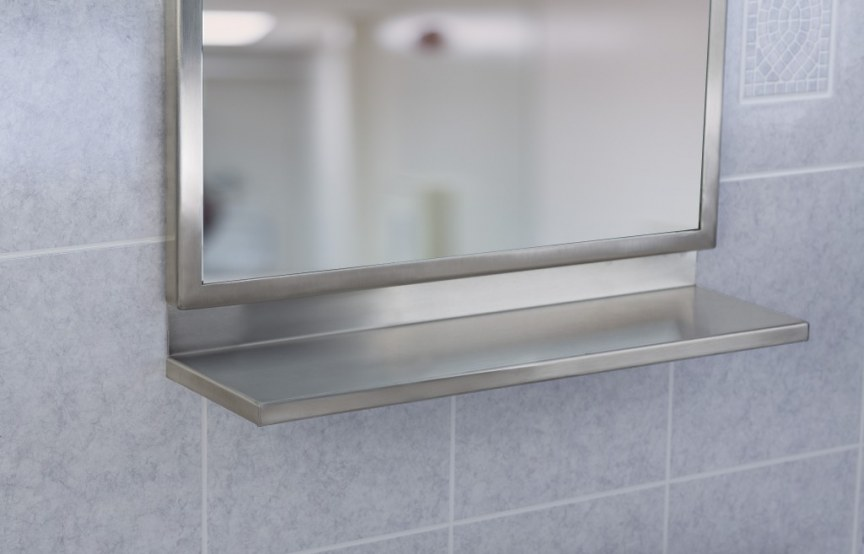 18-inch x 30-inch Angle Frame, with mirror, satin finish