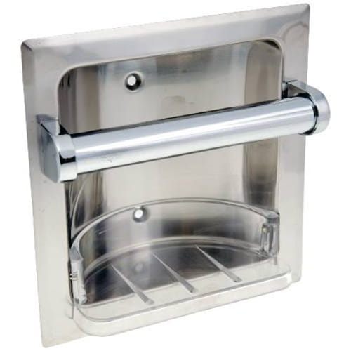 Recessed Soap Dish With Grab Bar, Chrome
